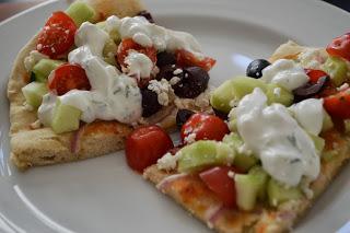 Greek Pizza with Tzatziki Sauce