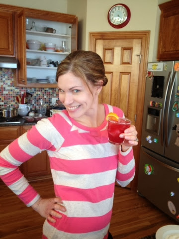 I went to snap a picture of just the drink, and my husband insisted that I hold it since I am not often (ever?) pictured on this blog. So here you go. The coordination of the drink and my shirt was pure accident.