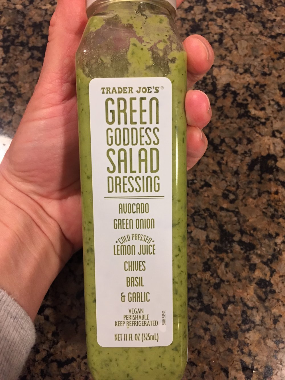 A new find last week. In the refrigerated salad dressing section. It's a fresh blend of herbs and lemon juice and avocado. It is FULL of bright flavor, and wait for it....has only TWENTY calories. I just don't know how that is even possible, but I'm going with it.