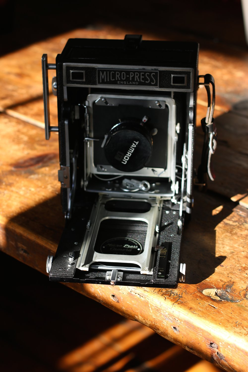 The vintage large format camera, with modified lens board as the one I ordered didn't arrive! Made from a DVD box.
