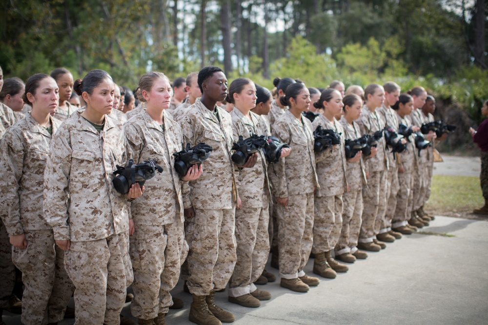 U.S. Marine Corps recruits of Oscar Company, 4th Recruit Training Battalion, prepare to enter the gas chamber. Photo by Cpl. Joseph Jacob/U.S. Marine Corps.