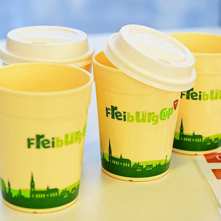The Freiberg Cup is a reusable coffee mug on deposit at all coffee shops in Freiburg Germany.
