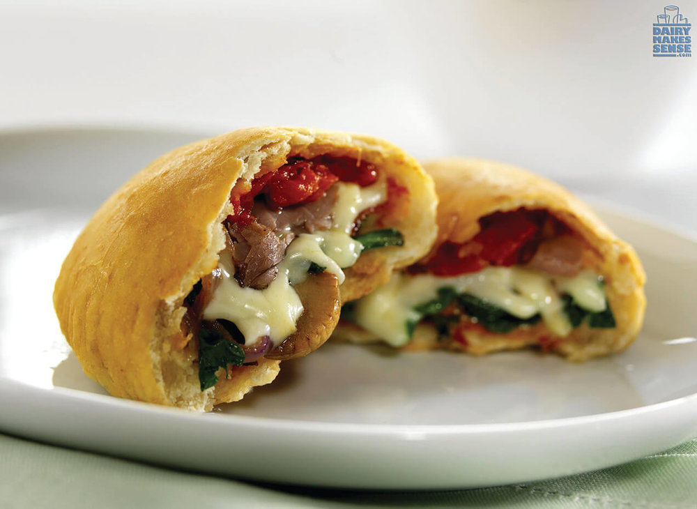 Three-Cheese, Veggie and Beef Calzone