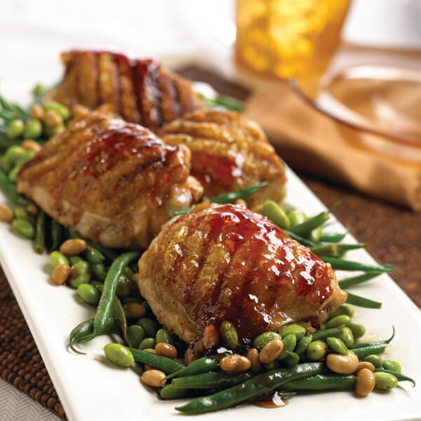 Grilled Chicken with Three-Bean Salad and Spicy Cherry Sauce