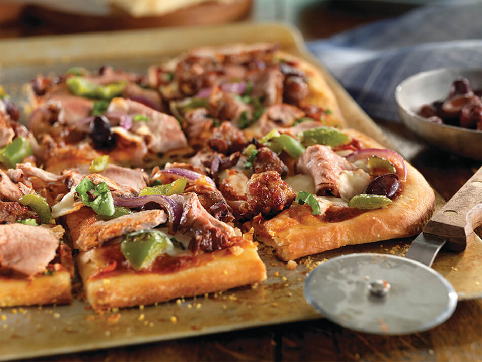 Pork Tenderloin and Sausage Flatbread