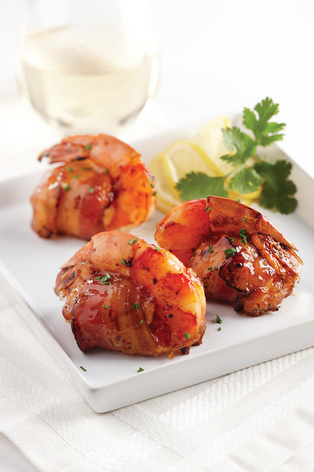 Bacon-Wrapped, Crab Stuffed Shrimp with Thai Chili Glaze