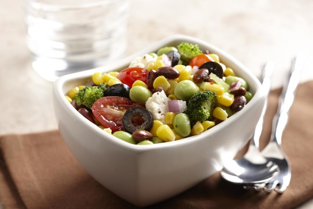 Mediterranean Veggie Salad recipe and photo from The Soyfoods Council.