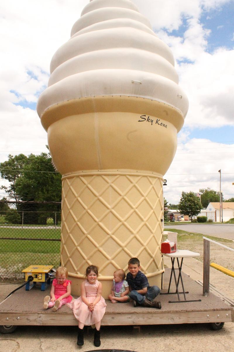 Sky Kone – which is a 20-foot-8-inch ice cream cone that is outfitted with a soft serve machine – has a primary location in Ackley.