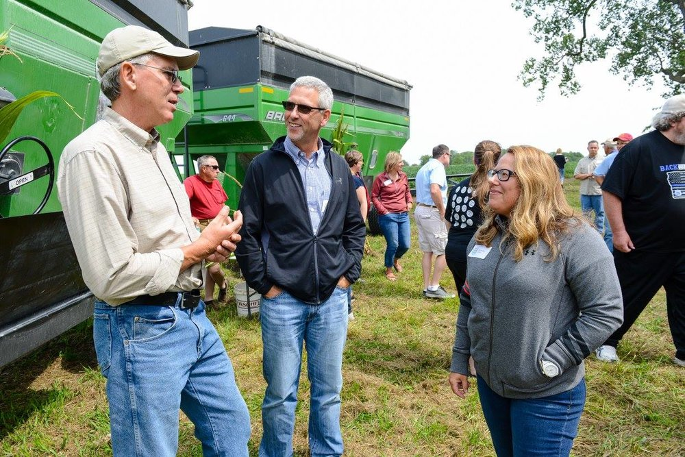 Mark Jackson answers questions about his family's soybean farming operations.