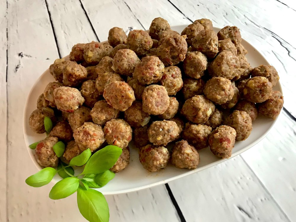 Iowa-Inspired meatballs prepared in the oven without sauce.