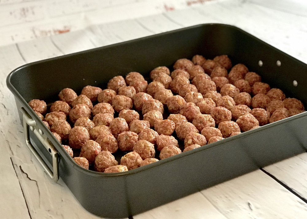 Bake meatballs in the oven.
