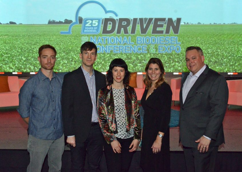 Submitted photo: Jason Lawrence with Amerigreen (far right) moderated a panel on the documentary at the National Biodiesel Conference with National Biodiesel Board communications manager Jessica Robinson (second from right), director/producers Jessica Wolfson (center) and Paul Lovelace (left), and cinematographer Andrew Miller (far left).
