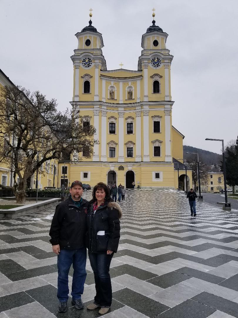 """During our Danube River cruise, J. and I toured the stunning St. Michael's Church. It is situated right in the middle of the town center in Mondsee, Austria,and was used for the wedding scene in """"The Sound of Music""""film."""