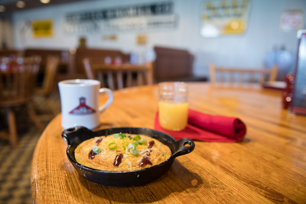 The Beef Brisket Frittata will be on the Machine Shed menu through May.