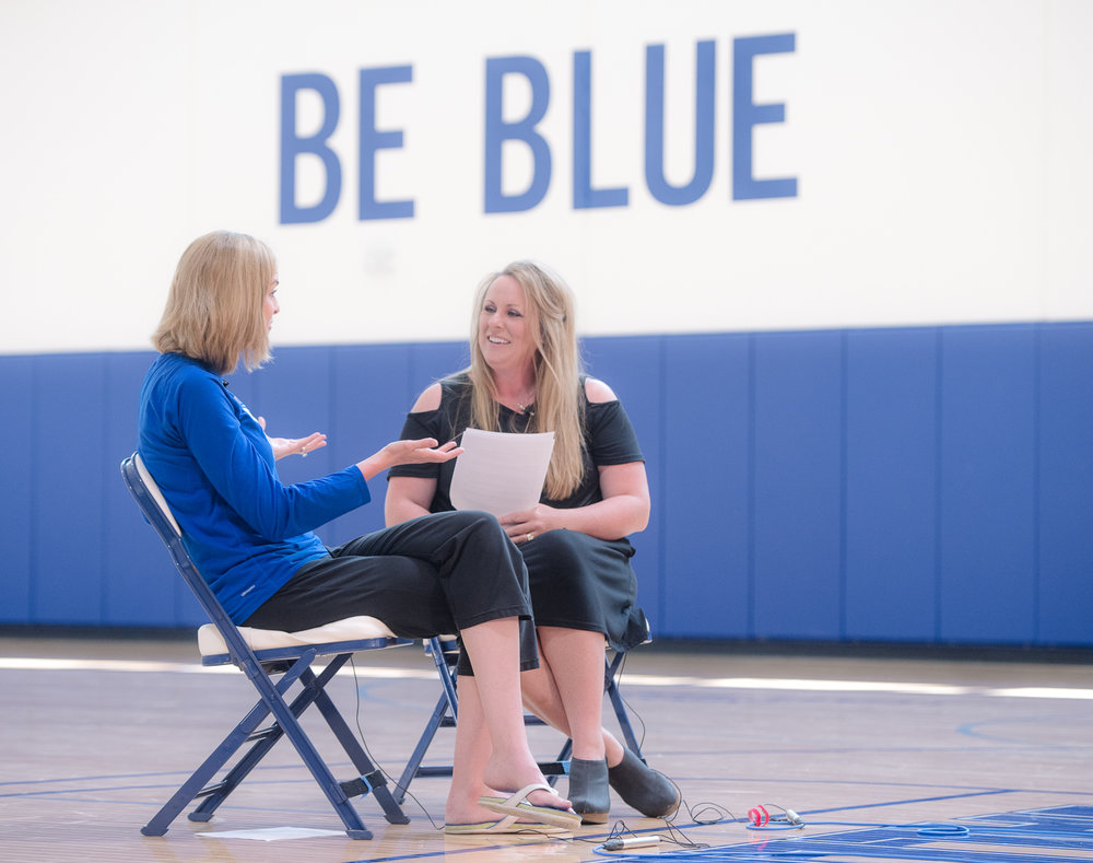 Jennie Baranczyk and Cristen Clark sit down in the Knapp Center to record the Table Talk podcast.