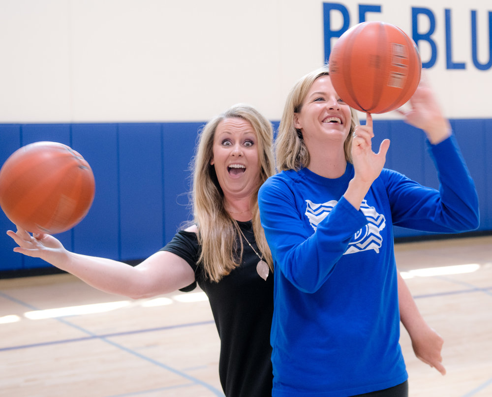 Jennie Baranczyk and Cristen Clark played basketball together at Dowling Catholic High School. Photo credit: Joseph L. Murphy/Iowa Soybean Association