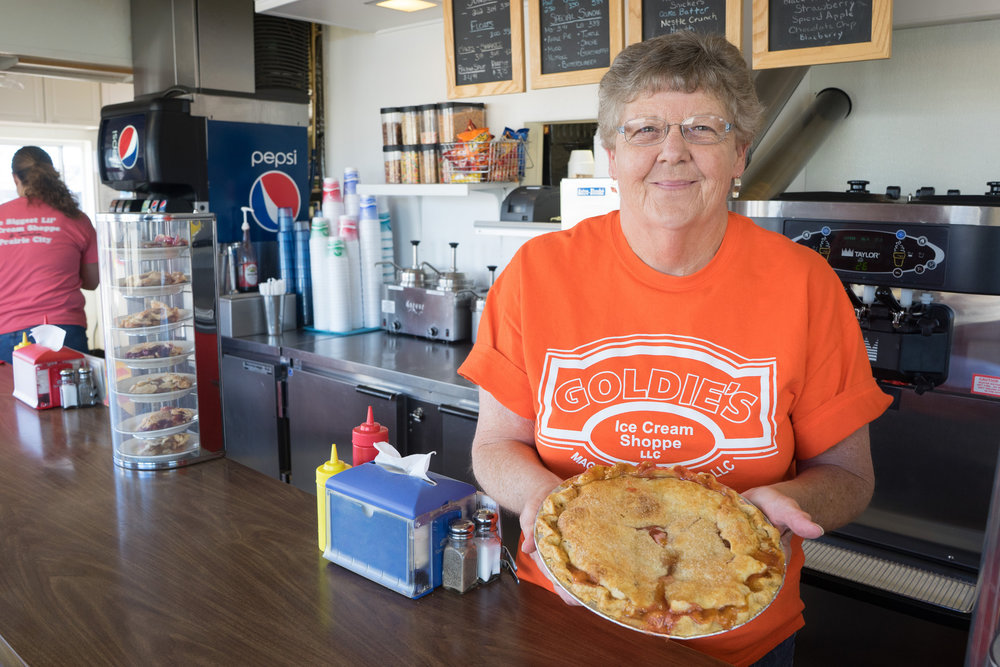 Goldie's Ice Cream Shoppe in Prairie City is home to delicious ice cream, sandwiches and pies. Photo credit: Joseph L. Murphy, Iowa Soybean Association.