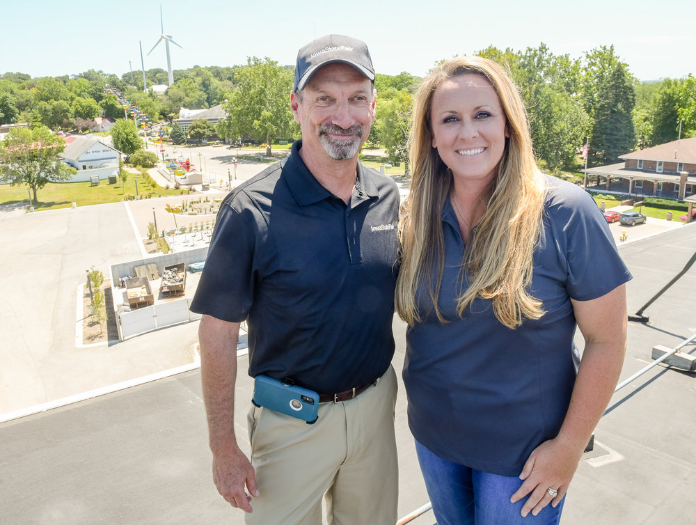 Gary Slater and Cristen Clark stand on top of the Grandstand for a birds-eye view of the fairgrounds. Photo credit: Joseph L. Murphy/Iowa Soybean Association