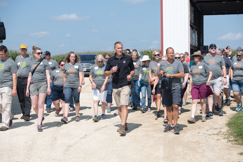 Participants toured G&W Pork in Aurora where Al and Kathy Wulfekuhle shared insights on pork production, biosecurity and animal welfare. Photo credit: Joseph L. Murphy/Iowa Soybean Association