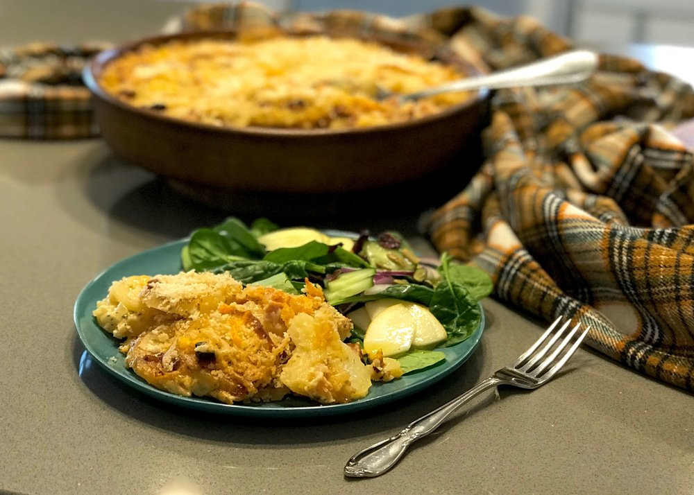 Pair Au Gratin Potatoes and Ham with a light pear salad for a fall meal. Photo credit: Anita McVey/Picnic Life Foodie