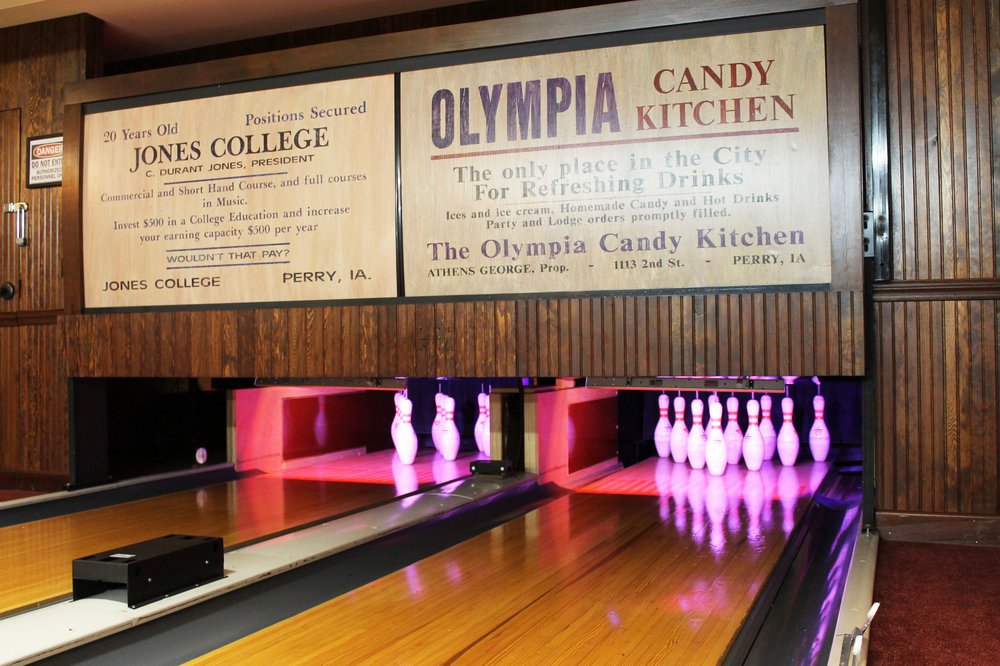 Guests can enjoy the fully restored bowling alley in the hotel's basement. Photo credit: Hotel Pattee
