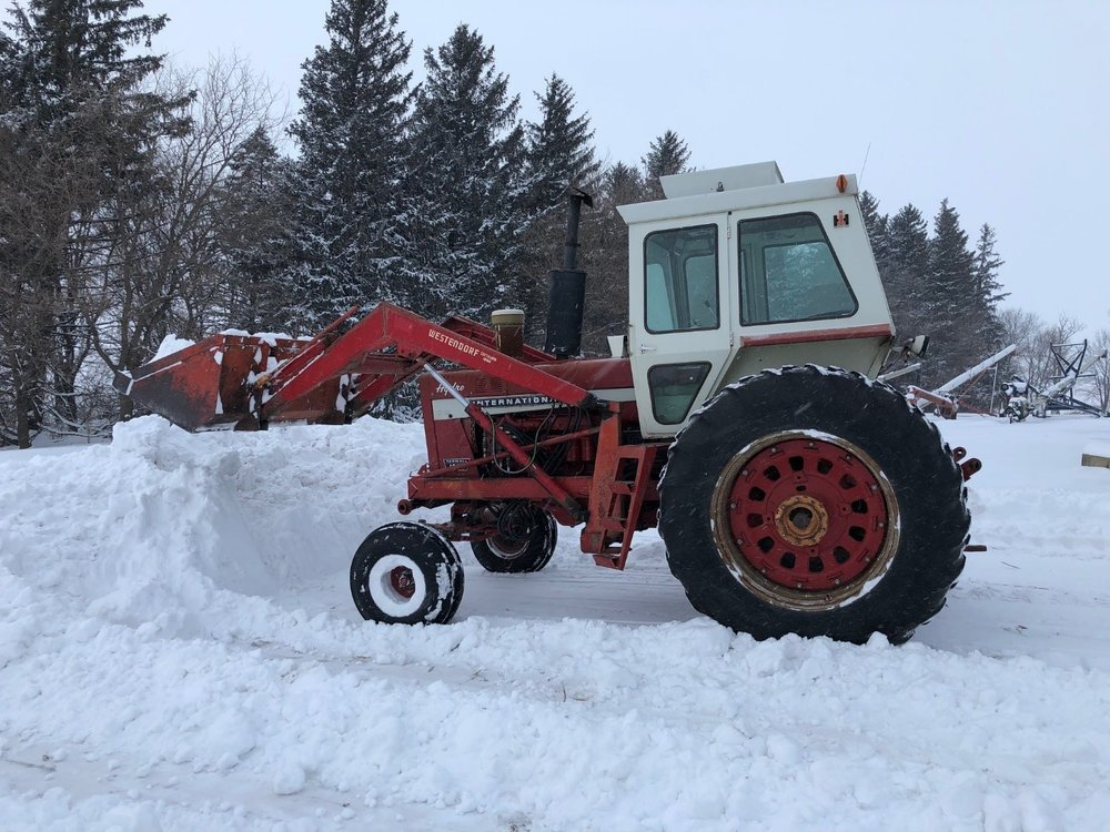 Moving snow in February 2019 with a 48-year-old tractor. Photo credit: Tom Oswald