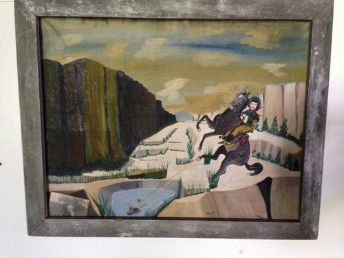 Vintage Cowboy Painting South Road Art Antiques
