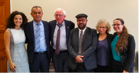 MK Jamal Zahalka (2nd from left) with Adalah and US partners delegation meet with Senator Bernie Sanders (3rd from left).