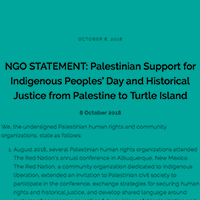 Palestinian NGO Solidarity Statement on Indigenous Peoples' Day