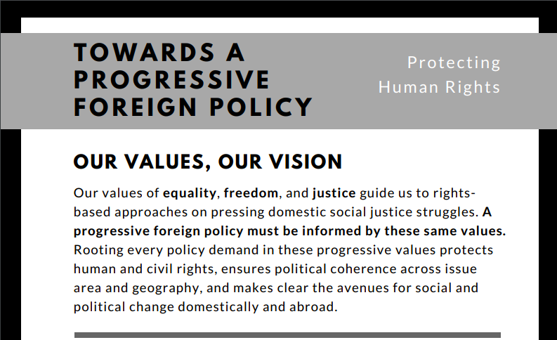 Towards a Progressive Foreign Policy