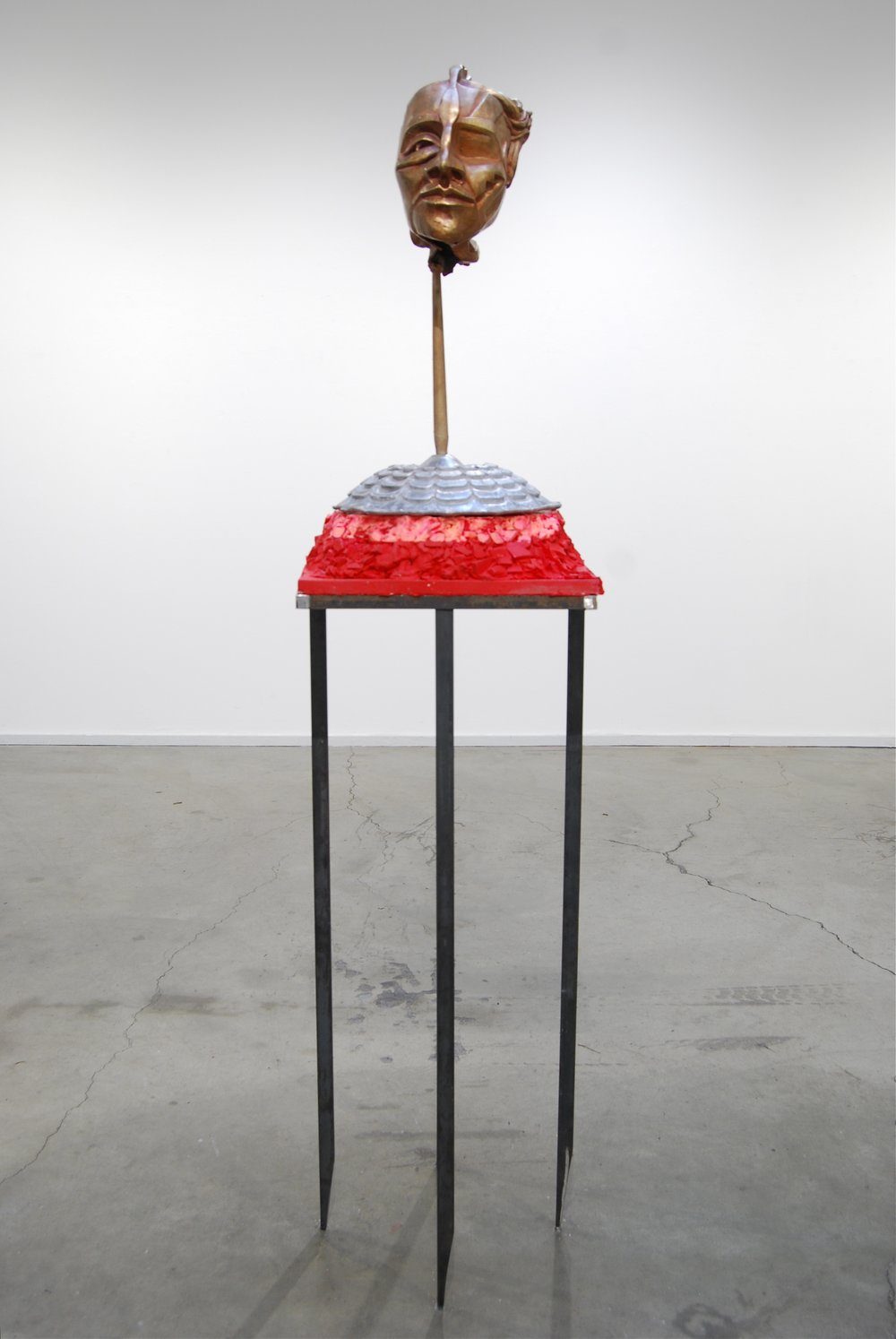 "Percocet - bronze, aluminum, silicon rubber, steel   2013    75""x18""x18""  .jpg"