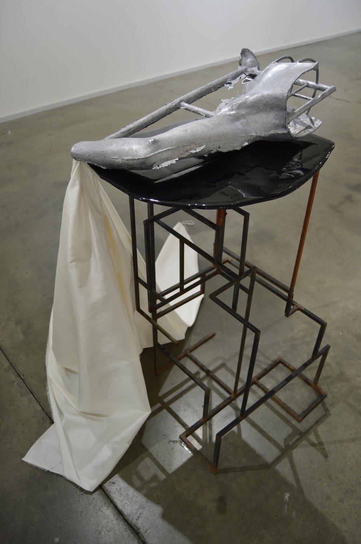 "Queen Mine (After Goya) - aluminum, steel, gold nuggets, human hair, raw silk fabric, water 44"" x 43"" x 42"" 2014 #1.jpg"
