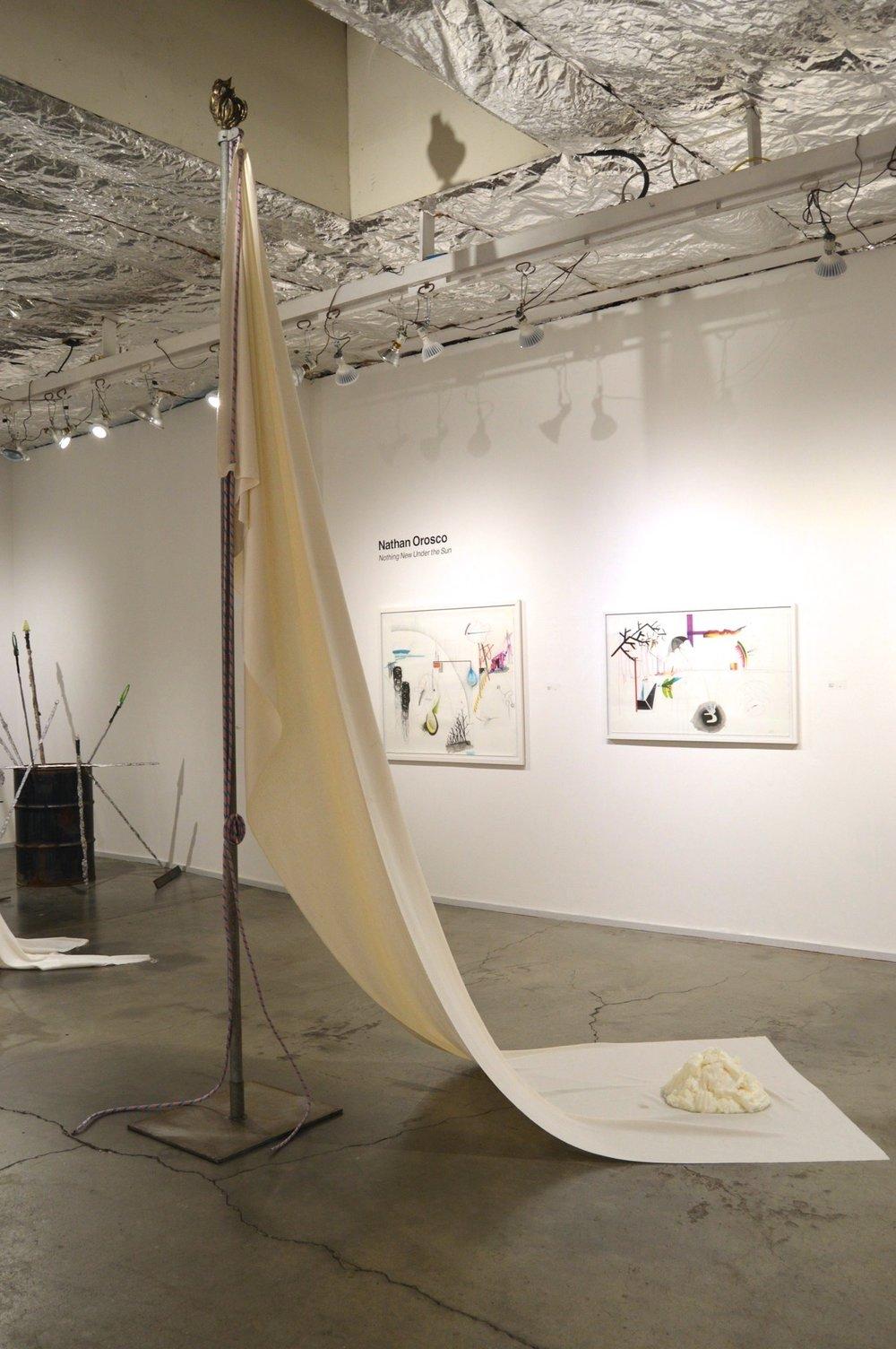 Surrender - flag pole, raw silk, bronze, rope, steel #1.jpg