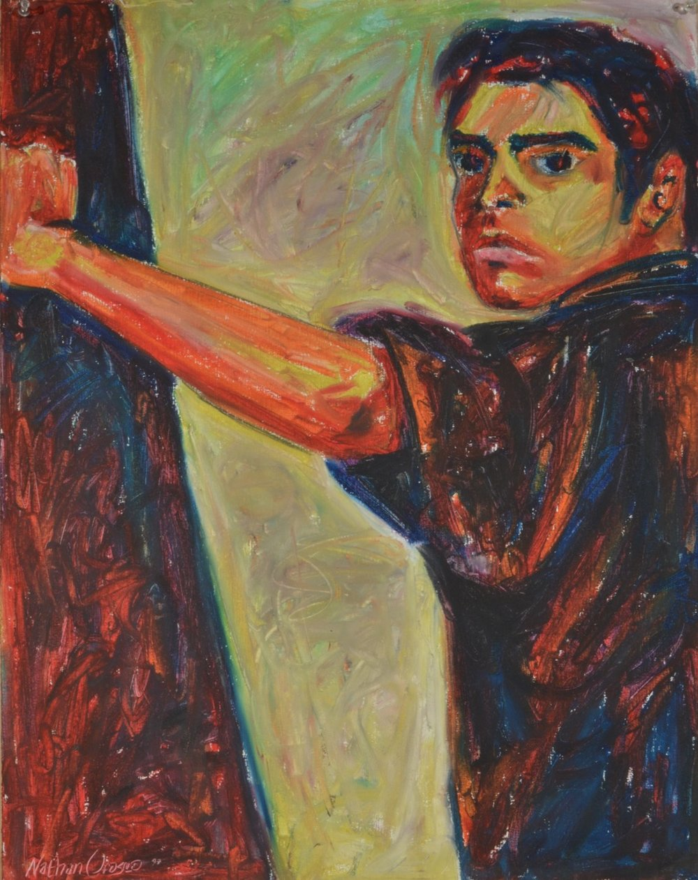 "Self Portrait  oil stick, gesso on paper  20"" x 25""  1997"