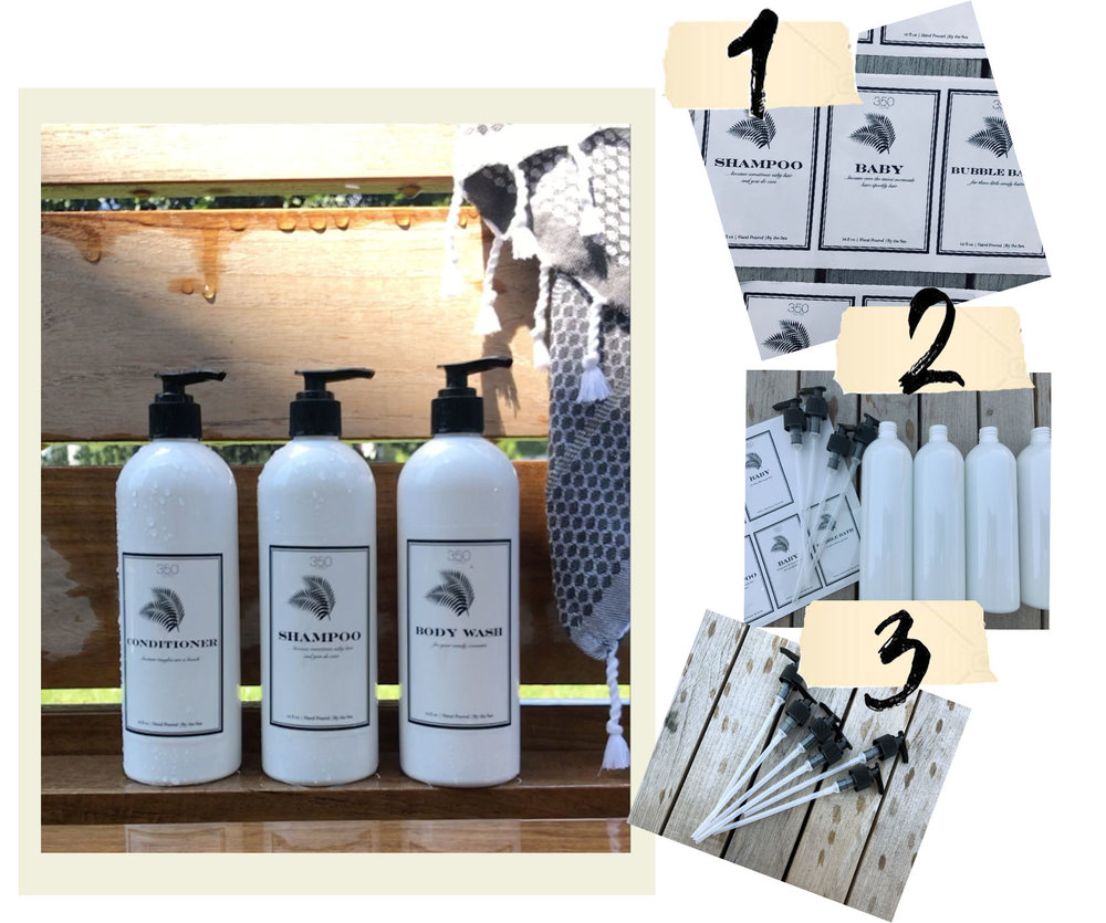 HOW TO DIY CUSTOM SOAP BOTTLES - I like to leave a good impression on my guests so when we moved into our beach house this summer I wanted to have a few extra special touches. I designed my own soap labels & had them printed on water proof sticky paper with a shop I found on Etsy. I used funny sayings like