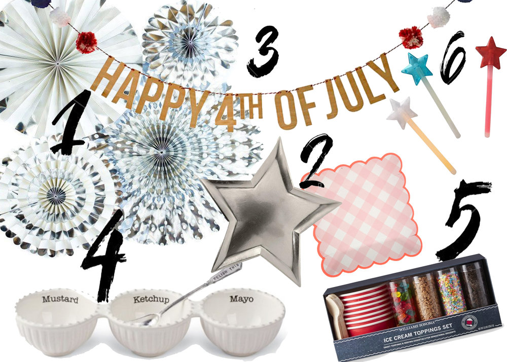 Fourth Of July BBQ Essentials - Fourth of July is my favorite holiday. Every year we throw a big BBQ for all of our friends, family and neighbors. I always stock up on lots of glow-y, glittery, red white & blue decor to make it really festive. These are some of my favorites this year!1. Party Fan Set, Sweet Lulu 2. Star & Gingham Plates, Meri Meri 3. 4th of July Banner, Meri Meri4. Condiment Bowls, Swoozies 5. Ice Cream Toppings Set, William Sonoma6. Glow Wands, Sweet Lulu