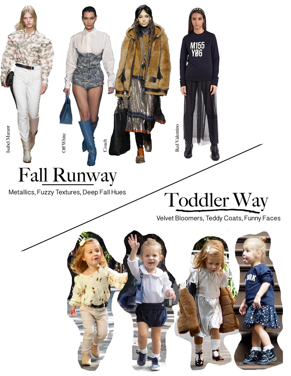 The Runway Isn't Just for Grown Ups - Some favorite looks translated for preschoolers and how to get the look below!