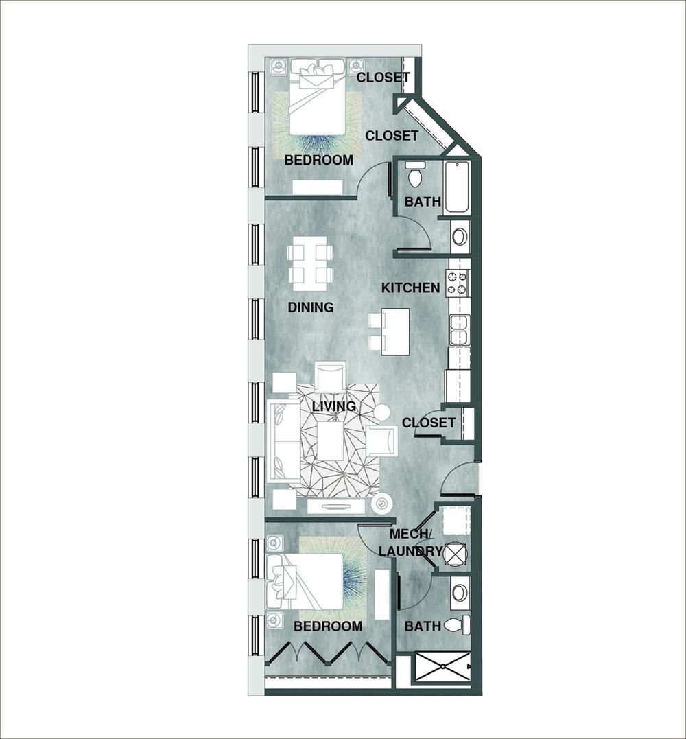 2 Bedroom — Wheelhouse Lofts