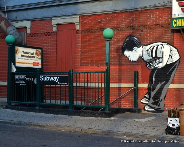 """Subway Boy"" Near DeKalb Ave Station, a mural by Joe Iurato for The Bushwick Collective"