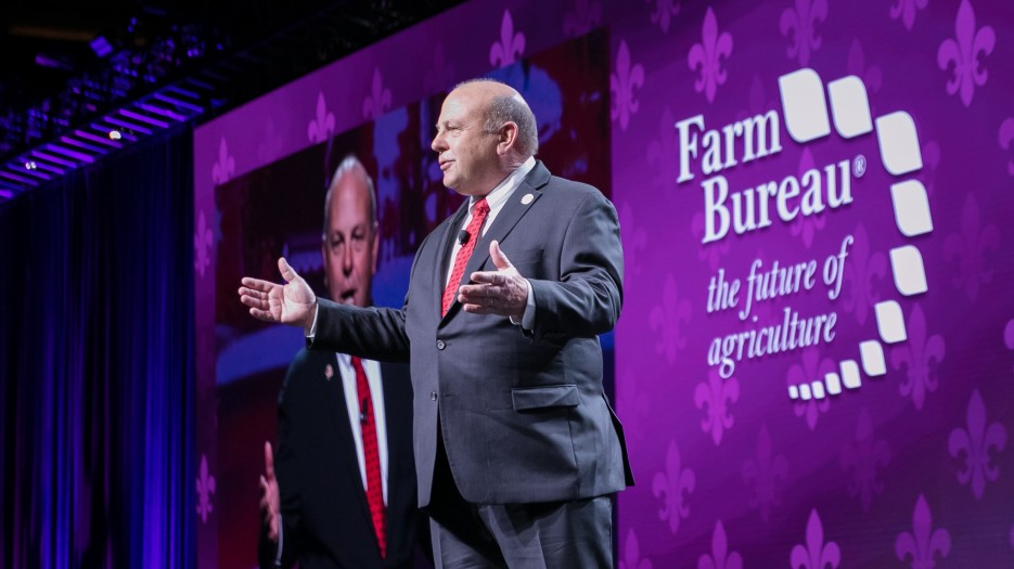 AFBF President Zippy Duvall addresses members at last month's American Farm Bureau Federation's 100th Annual Convention. Photo courtesy of AFBF