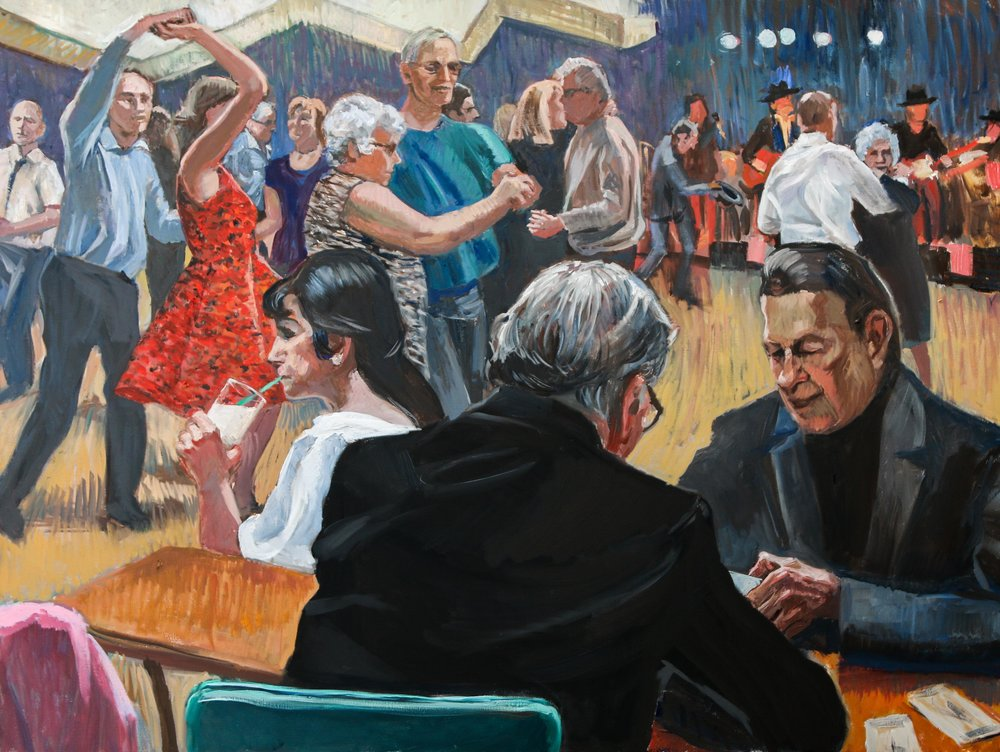 "'Fifteen Minutes to the Meat Draw: Saturdays, Esquimalt Legion' oil on canvas, 30""x 40"" This painting is based on references from earlier in the year. The band in the background has a personal connection and we really enjoyed the crowd and atmosphere on the 2 occasions we went. There's a lot going on in this scene - the card players, the woman sipping her drink, the band, the dancers - (all very skilled, I might add-they know how to two-step!). These occasions are friendly, affordable, and fun and more and more of a rarity. Our loss!"