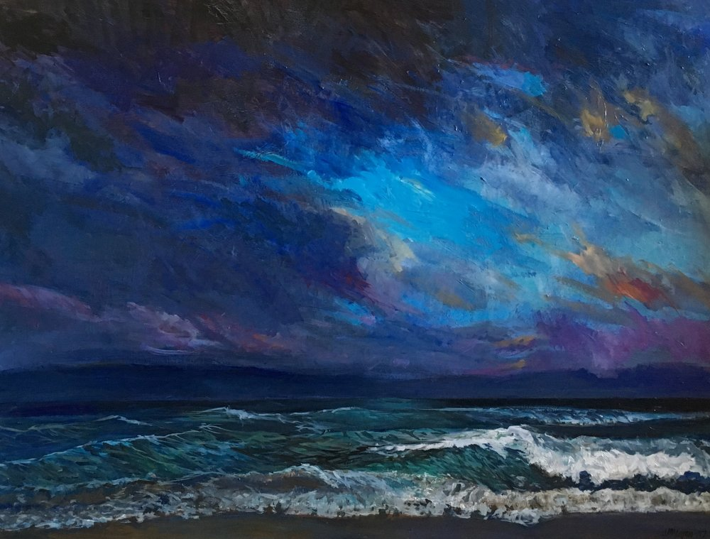 "A new seascape, ""Wave"", oil on canvas, 30 X 40, that will be part of my display at the Moss Street Paint-In. Looking forward to Saturday when I will be painting a portrait of my son's beautiful girlfriend. Drop by if you are in the area, will be located on Moss Street just below Richardson between 11 and 4 on July 15."