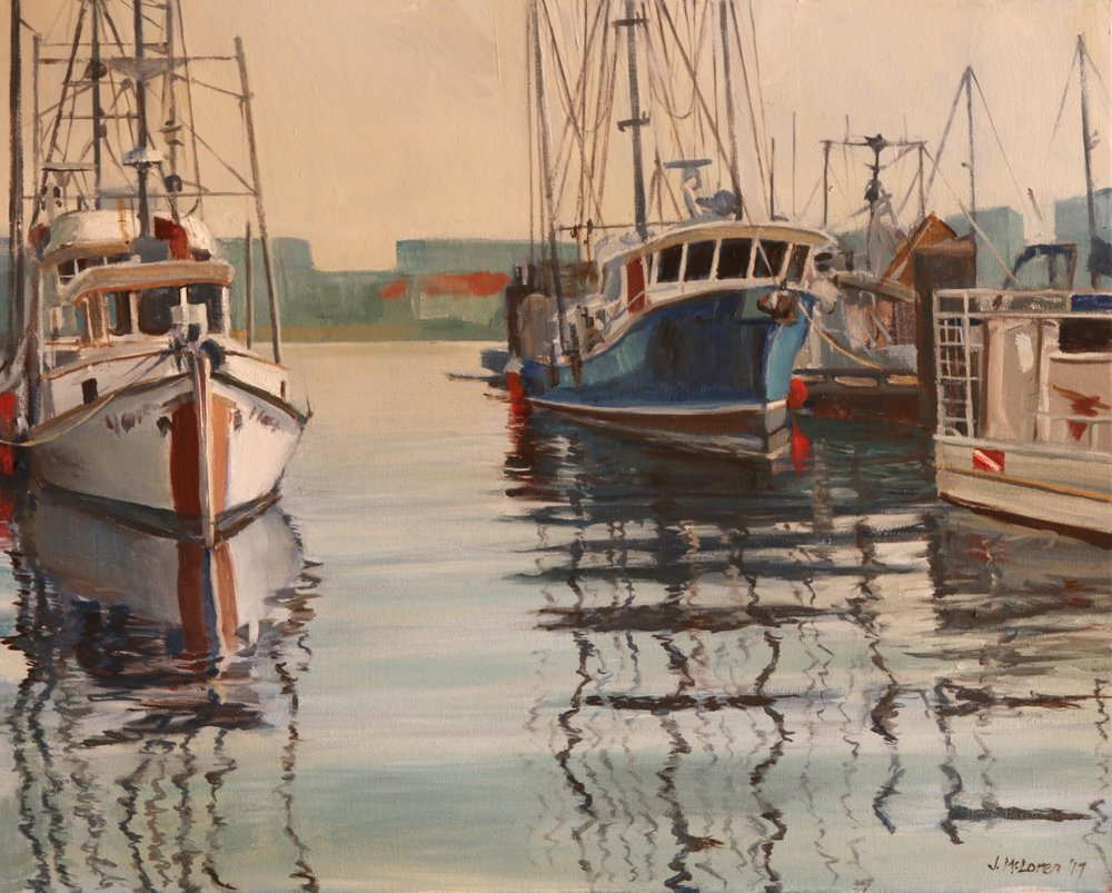 A vignette from Fisherman's Wharf in Victoria. I think the smokey skies of the summer make an appearance in this painting!
