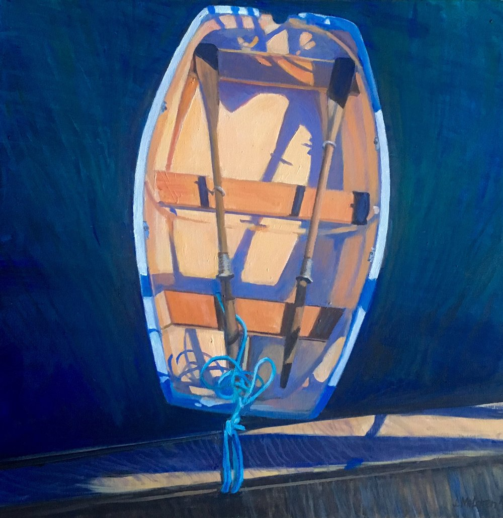 'Tender' 30X30 - oil on canvas. I love the patterning of the shadows and the wonderful colour contrast between the warm yellows and oranges with the purples and blues -  and, of course, the light and dark. What appears at first to be a static image has much tension in it because of the two strong angles of the boat and of the dock.The powerful inverted triangle of the oarswhich contrast with the wonderful curves of the boat and of the shadows cast on its surface are anchored by the cerulean blue line which brings a strong vertical to the composition. This is one of several attempts I have made recently to design to the square - always a challenge. The reference was taken at the Cowichan Bay Marina - a lovely morning boating over to enjoy coffee and treats across the strait.