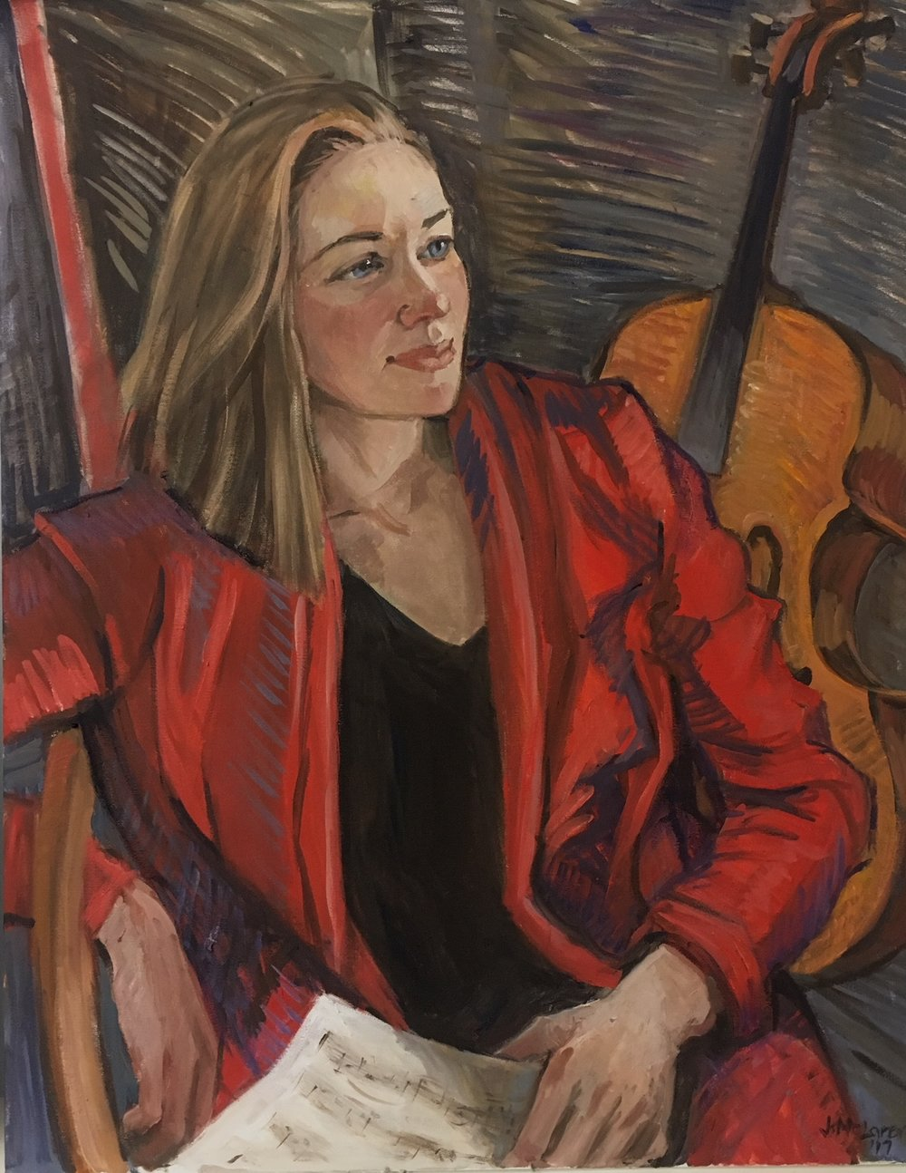 Portrait of Rosanna Butterfield, oil on canvas, 22x28 - She wanted to be portrayed playing her beloved cello, Grandmother (who commissioned it) did not - so a compromise!!!
