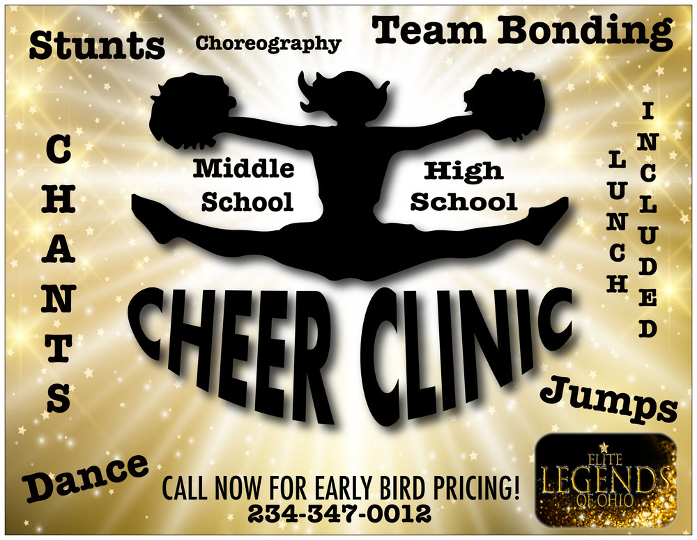 Book your 2 day Summer Cheer Clinic now! Early Bird pricing available. *Deposit Required.