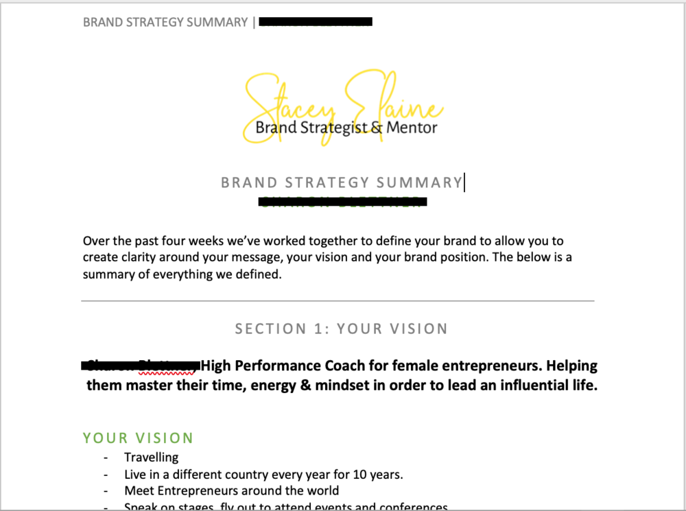 Sneak Peak - Once we've wrapped up the 4 weeks together, I put alllllll of our Trello content into a pdf summary for you so you've got all of your brand strategy together in one place. (I've been told this is reeeeallllllyyy helpful).