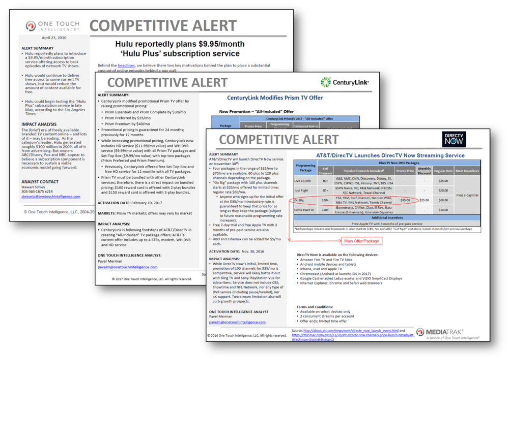 COMPETITIVE ALERTS - Notification of critical business intelligence through concise summaries plus perspectives and recommendations based on breaking news you need to understand right now.