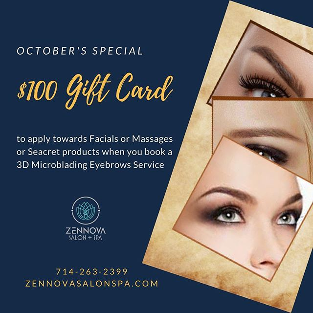 Hello October.... Get ready to fall in love with this month's special. Call us today at 714-263-2399 for an appointment & offer details 👀💈💌💋👁 . . . #microblading #microbladingeyebrows #3dmicroblading #3deyebrow #3deyebrowtattoo #beautyshop #beautysalon #facial #facials #massage #thaimassage #microdermabrasion #facialmassage #seacrets #seacretdirect #seacret #freegift #freegiveaway #freegiftcards #octobersale #fallinlove #zennovasalonspa