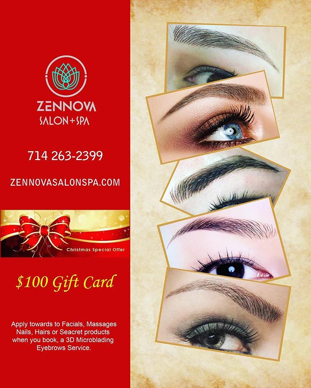 TGIF!!! Christmas special for eye microblading. Call for a consultation at 714.263.2399. Offer good till Dec 31, 2017 . . . #zennovasalonspa #ocsalon #ocsalons #gardengrovesalon #ocspa #microblading #microbladingeyebrows #3dmicroblading #3deyebrow #3deyebrowtattoo #beautyshop #beautysalon #facial #facials #massage #thaimassage #microdermabrasion #facialmassage #seacrets #seacretdirect #seacret #freegift #decembersale #christmaspromotion #holidaypromo